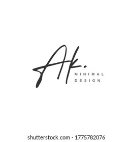 A K AK Initial handwriting or handwritten logo for identity. Logo with hand drawn style.