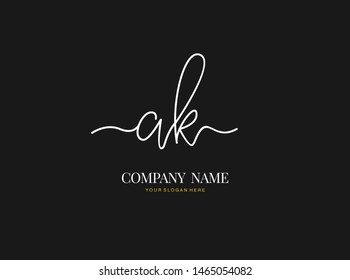 A K AK Initial handwriting logo design with circle. Beautyful design handwritten logo for fashion, team, wedding, luxury logo.