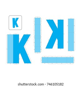 K Alphabet paper model template, cut out and glue with numbers marked into a 3d model