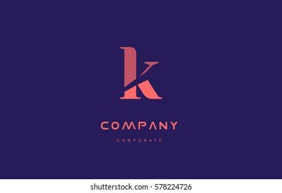 k alphabet small letter blue pink creative design vector company logo icon template