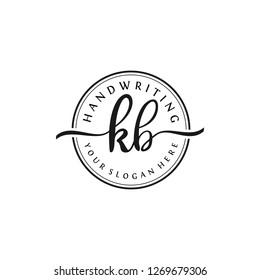K B Initial handwriting logo vector