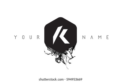 K Black Ink Letter Logo Design with Rounded Hexagon Vector.