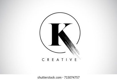 K Brush Stroke Letter Logo Design. Black Paint Logo Leters Icon with Elegant Circle Vector Design.