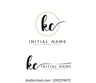 K C Initial handwriting logo vector. Hand lettering for designs.