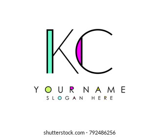 K & C initial minimalist logo template vector