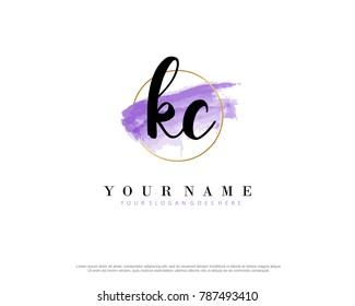 K C Initial water color logo template vector