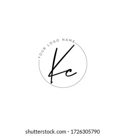 K C KC Initial letter handwriting and signature logo.