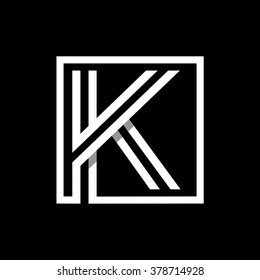 K capital letter enclosed in a square. . Overlapping with shadows monogram, logo, emblem. Trendy design.