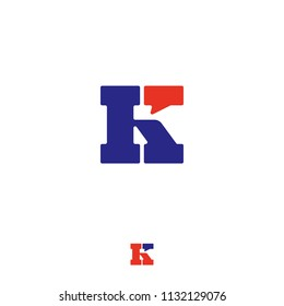 K chat, UI logo. Letter K with a comic bubble. Conversation, correspondence emblems. A blue letter with a red bubble.