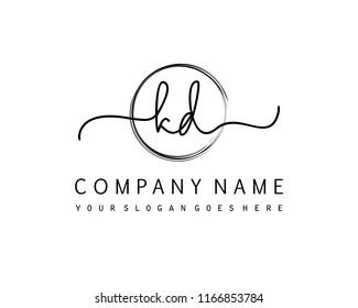 K D Initial handwriting logo vector