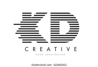 K D Zebra Letter Logo Design with Black and White Stripes Vector