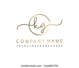 K G Initial handwriting logo vector