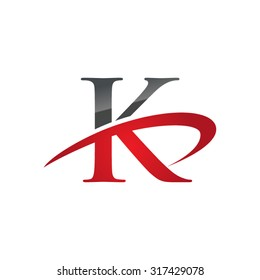 K initial company red swoosh logo