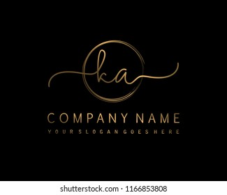 K A Initial handwriting logo vector