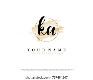 K A Initial water color logo template vector
