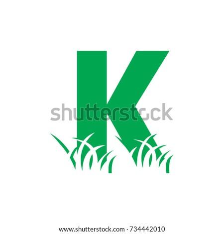 k initials lawn care logo