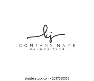 K J Initial handwriting logo