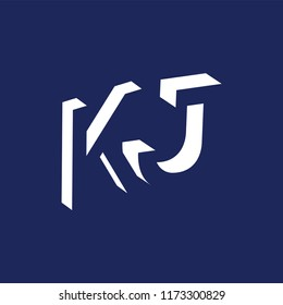 K J initial letter with negative space logo icon vector template