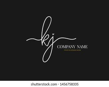 K J KJ Initial handwriting logo design with circle. Beautiful design handwritten logo for fashion, team, wedding, luxury logo.