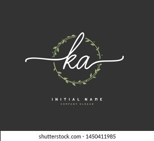 K A KA Beauty vector initial logo, handwriting logo of initial signature, wedding, fashion, jewerly, boutique, floral and botanical with creative template for any company or business.