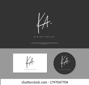 K A KA Initial handwriting or handwritten logo for identity. Logo with signature and hand drawn style.