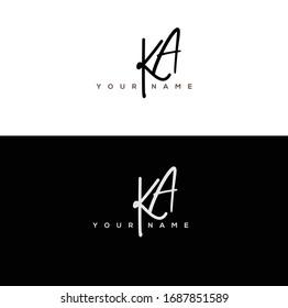 K A KA Initial letter handwriting and signature logo.