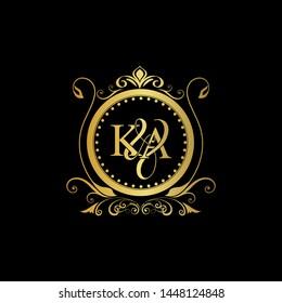 K & A / KA logo initial vector mark. Initial letter K and A KA logo luxury vector mark, gold color elegant classical symmetric curves decor.