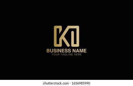 k i KI logo  Unique Minimal Style golden and black gold  colour initial  logo vector design