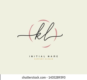 K L KL Beauty vector initial logo, handwriting logo of initial signature, wedding, fashion, jewerly, boutique, floral and botanical with creative template for any company or business.
