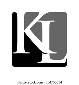 k and l logo vector.