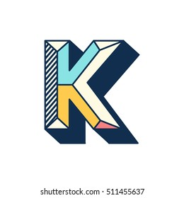 K letter abstract retro pop font alphabets