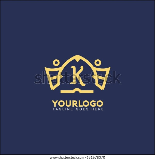 K Letter Creative King Crown Logo Stock Vector Royalty Free
