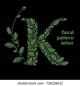 K letter eco logo isolated on black background. Organic bio logo from green grass leaves, plants for corporate identity of the company or brand on the letter K.