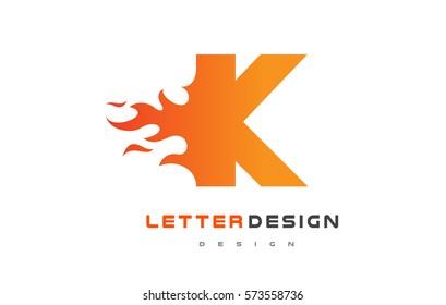 K Letter Flame Logo Design. Fire Logo Lettering Concept Vector.