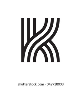 K letter formed by parallel lines. Vector design template elements for your application or corporate identity.