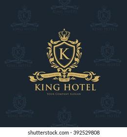 K letter King Luxury Crest Hotel Logo Template