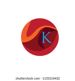 K Letter Logo With Circle Background