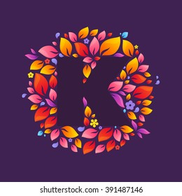 K letter logo in a circle of flames. Fire font style, vector design template elements for your ecology application or corporate identity.