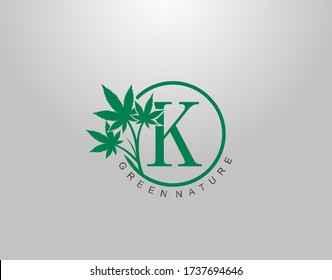 K Letter Logo Circle Nature Canabis Leaf, vector logo design concept medical marijuana leaf with initial letter logo icon for nature business.