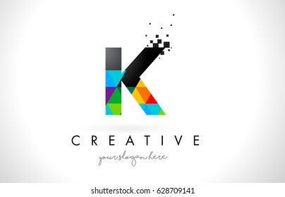 K Letter Logo with Colorful Vivid Triangles Texture Design Vector Illustration.