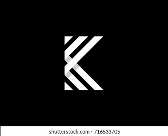 K Letter Logo concept. Creative Minimal Monochrome Monogram emblem design template. Universal elegant icon. Graphic Alphabet Symbol for Corporate Business Identity. Creative Vector element