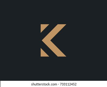 K Letter Logo concept. Creative Minimal emblem design template. Universal elegant icon. Premium business finance logotype. Graphic Alphabet Symbol for Corporate Business Identity. Vector element