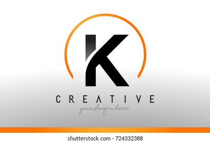 K Letter Logo Design with Black Orange Color. Cool Modern Icon Letters Logo Vector.