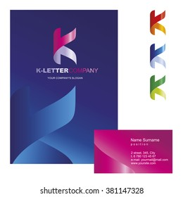 K letter - logo design concept illustration. K sign for business company. Corporate identity - visit card, poster, folder, brochure cover. Mosaic decorative style.