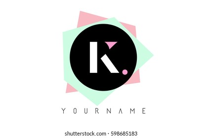 K  Letter Logo Design with Geometric Pastel Colored Shapes.