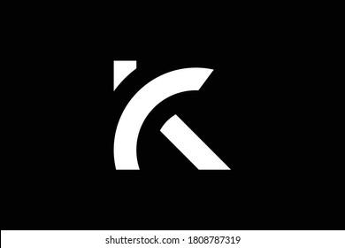 K letter logo design on luxury background. K monogram initials letter logo concept. KC icon design. CK elegant and Professional white color letter icon design on black background. K KC CK