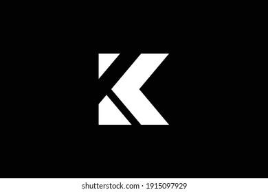 K letter logo design on luxury background. KK monogram initials letter logo concept. K icon design. KK elegant and Professional white color letter icon on black background.