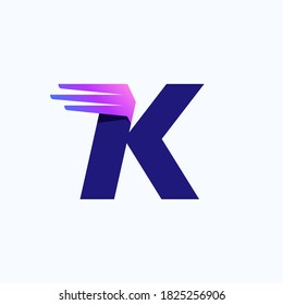 K letter logo with fast speed lines or wings. Corporate branding identity design template with vivid gradient. Can be used for delivery ads, technology poster, sport identity, etc.