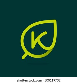 K letter logo in green leaf. Line style icon. Vector ecology elements for posters, t-shirts and cards.
