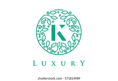 K Letter Logo Luxury. Green Beauty Cosmetics Logo Monogram.